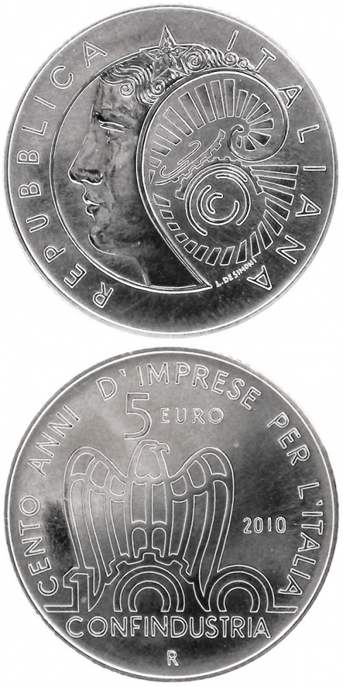 Image of 5 euro coin - 100th anniversary of the Italian employers' federation  | Italy 2010.  The Silver coin is of BU quality.