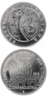 5 euro 100th anniversary of the Italian employers' federation  - 2010 - Series: Silver 5 euro coins - Italy