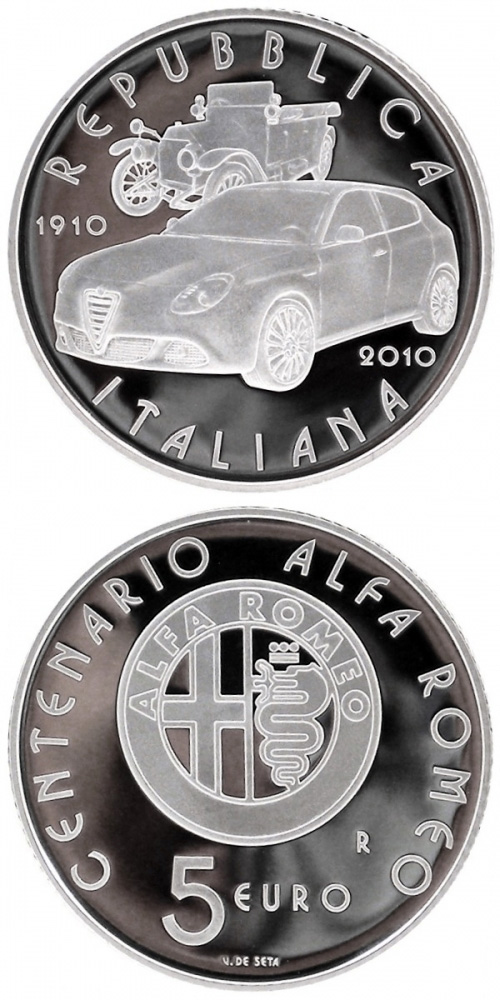 Image of 5 euro coin – 100th anniversary of the first Alfa Romeo ever built in 1910  | Italy 2010.  The Silver coin is of Proof, BU quality.
