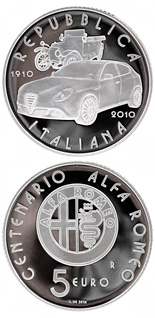5 euro coin 100th anniversary of the first Alfa Romeo ever built in 1910  | Italy 2010