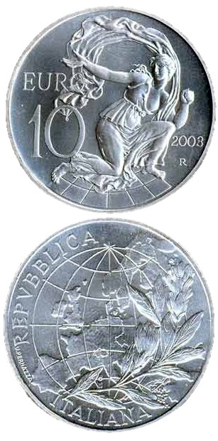 Image of Europe of the people – 10 euro coin Italy 2003.  The Silver coin is of Proof, BU quality.
