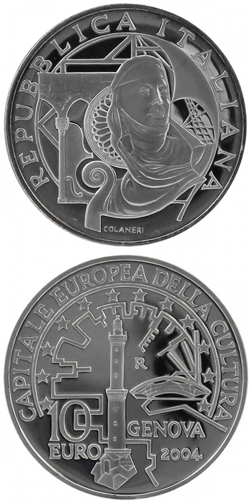 Image of 10 euro coin Genua - European Capital of Culture | Italy 2004.  The Silver coin is of Proof, BU quality.