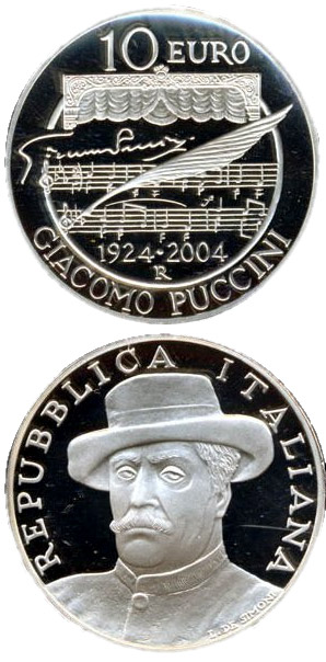 Image of 10 euro coin 80. anniversary of the death of Giacomo Puccini | Italy 2004.  The Silver coin is of Proof, BU quality.