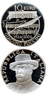 10 euro 80. anniversary of the death of Giacomo Puccini - 2004 - Series: Silver 10 euro coins - Italy