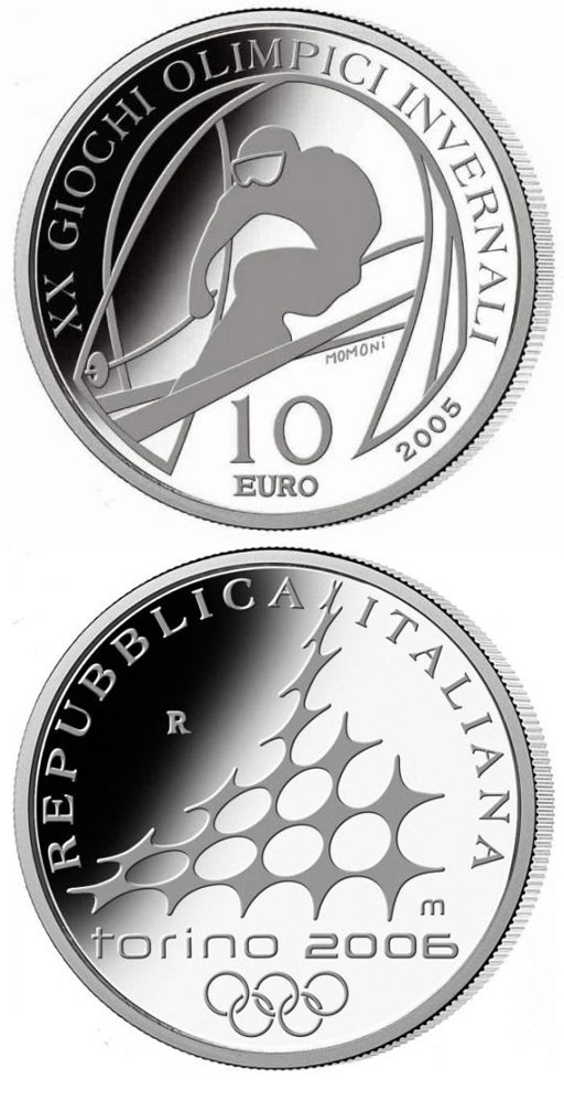 Image of 10 euro coin – XX. Olympic Winter Games 2006 in Turin - Alpine Skiing - Downhill skiing | Italy 2005.  The Silver coin is of Proof quality.