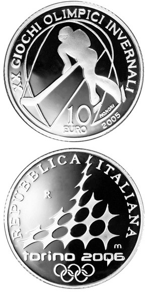 Image of 10 euro coin – XX. Olympic Winter Games 2006 in Turin - Ice hockey | Italy 2005.  The Silver coin is of Proof quality.
