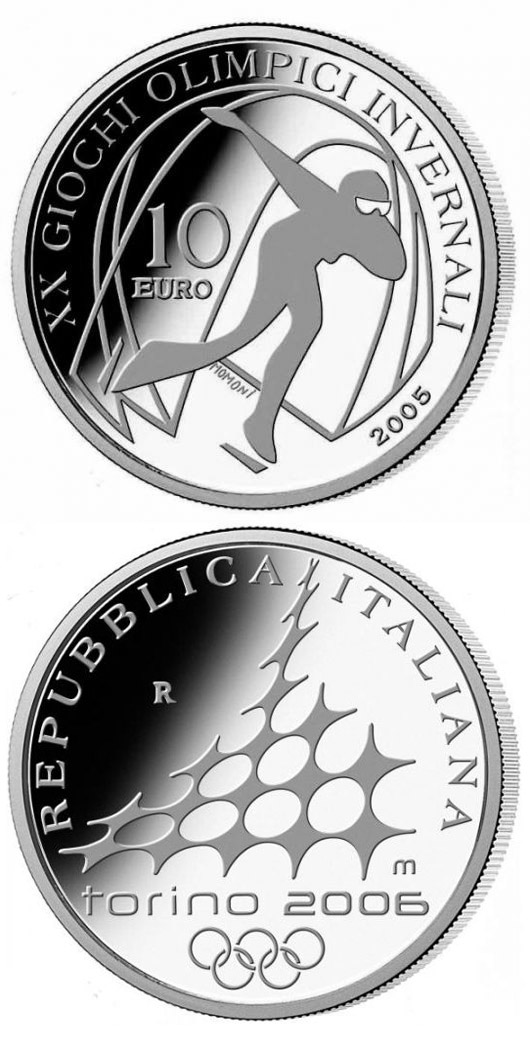 Image of 10 euro coin - XX. Olympic Winter Games 2006 in Turin - Speed Skating | Italy 2005.  The Silver coin is of Proof quality.
