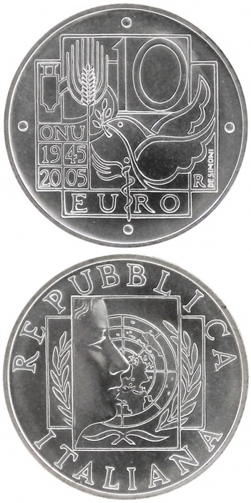 Image of 10 euro coin - 60 years United Nations | Italy 2005.  The Silver coin is of BU quality.