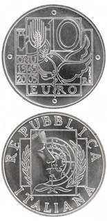 10 euro 60 years United Nations - 2005 - Series: Silver 10 euro coins - Italy