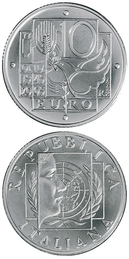 Image of 10 euro coin 60 years Peace and Freedom | Italy 2005.  The Silver coin is of Proof quality.