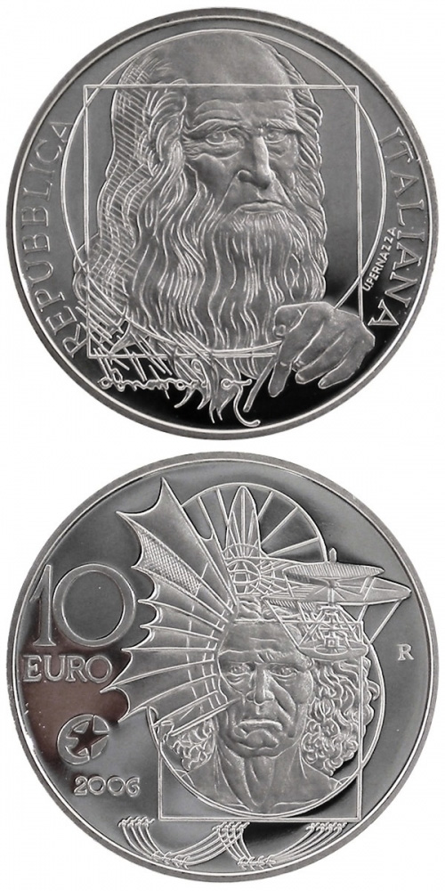 Image of 10 euro coin – Leonardo da Vinci | Italy 2006.  The Silver coin is of Proof quality.