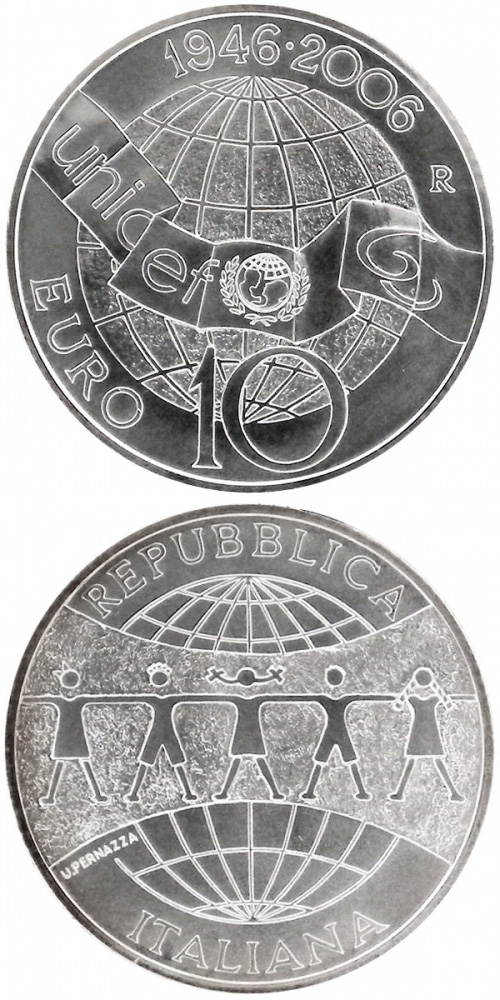 Image of 60 years UNICEF – 10 euro coin Italy 2006.  The Silver coin is of BU quality.