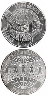 10 euro 60 years UNICEF - 2006 - Series: Silver 10 euro coins - Italy