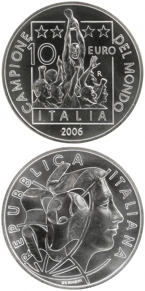 Image of 10 euro coin - Italy World Champion 2006  | Italy 2006.  The Silver coin is of BU quality.