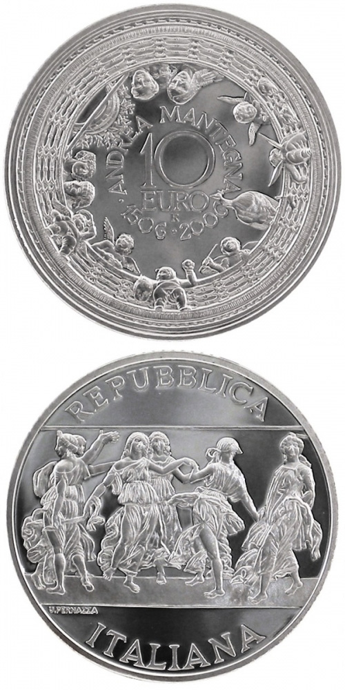 Image of 10 euro coin – 500. anniversary of the death of Andrea Mantegna | Italy 2006.  The Silver coin is of Proof quality.