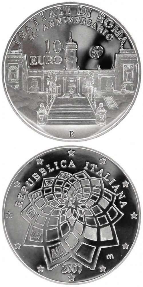 Image of 10 euro coin - 50 Years Treaty of Rome | Italy 2007.  The Silver coin is of Proof quality.