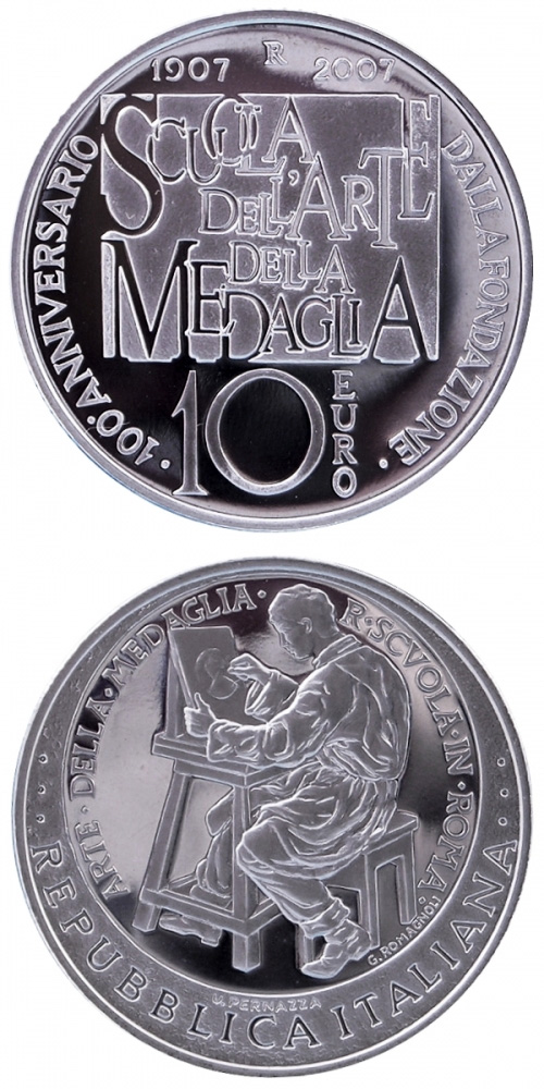 Image of 10 euro coin 100th anniversary school of art of the medal | Italy 2007.  The Silver coin is of Proof quality.