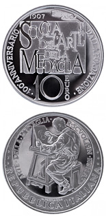 10 euro 100th anniversary school of art of the medal - 2007 - Series: Silver 10 euro coins - Italy
