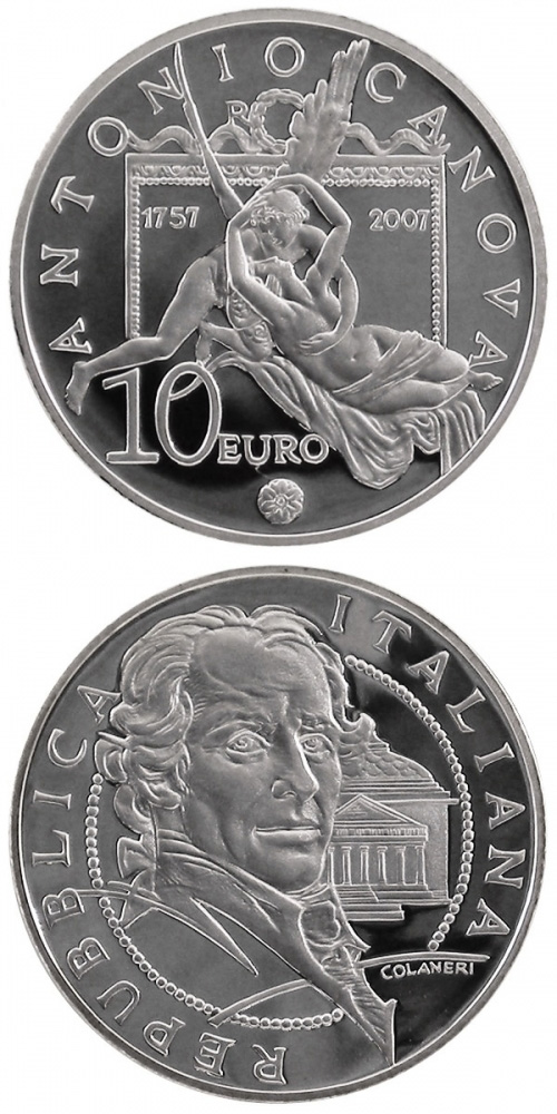 Image of 10 euro coin - 250. birthday of Antonio Canova | Italy 2007.  The Silver coin is of Proof quality.