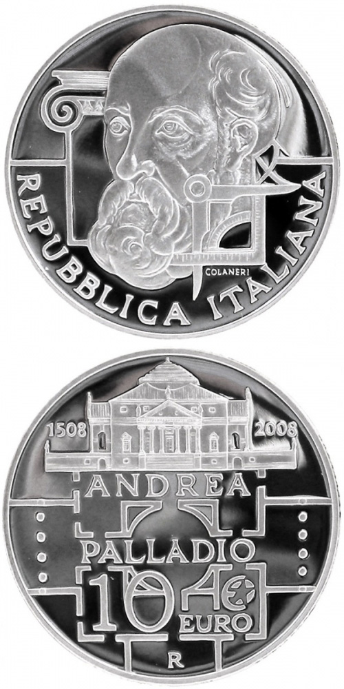 Image of 10 euro coin – 500. birthday of Andrea Palladio | Italy 2008.  The Silver coin is of Proof quality.