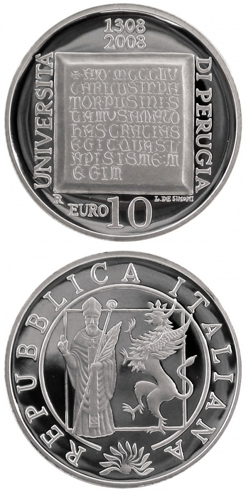 Image of 10 euro coin 700 years University of Perugia | Italy 2008.  The Silver coin is of Proof quality.