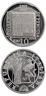 10 euro coin 700 years University of Perugia | Italy 2008