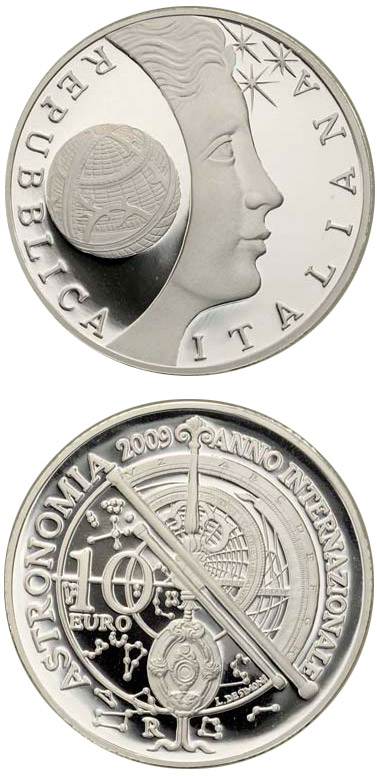 Image of 10 euro coin International Year of Astronomy | Italy 2009.  The Silver coin is of Proof quality.