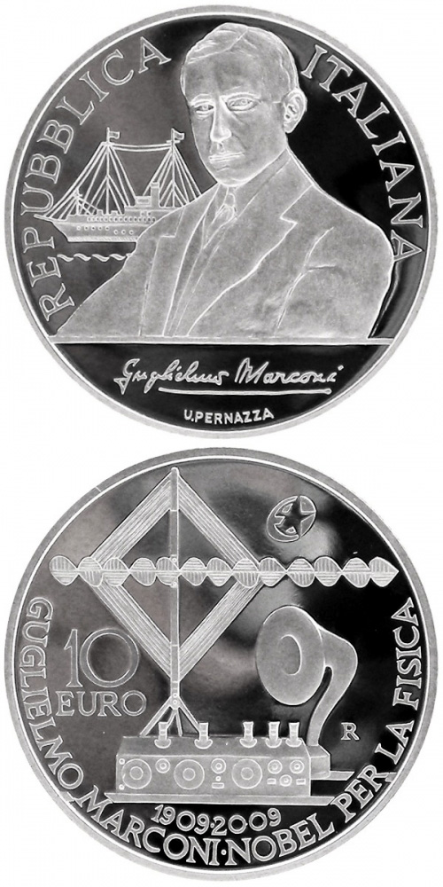 Image of 100th anniversary of the Nobel prize to Guglielmo Marconi – 10 euro coin Italy 2009.  The Silver coin is of Proof quality.