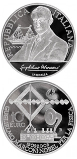 10 euro 100th anniversary of the Nobel prize to Guglielmo Marconi - 2009 - Series: Silver 10 euro coins - Italy