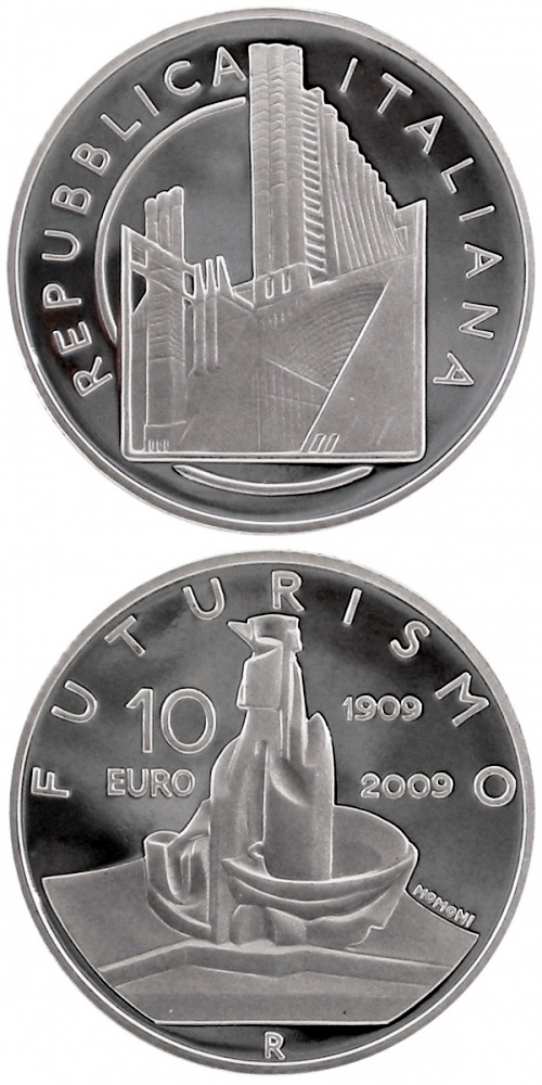 Image of 10 euro coin - 100 years Founding of the Futurist movement | Italy 2009.  The Silver coin is of Proof quality.