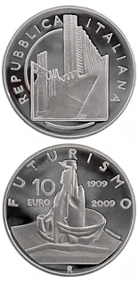 10 euro 100 years Founding of the Futurist movement - 2009 - Series: Silver 10 euro coins - Italy