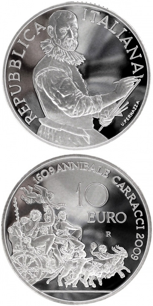 Image of 10 euro coin - 400th Anniversary of the death of Annibale Carracci | Italy 2009.  The Silver coin is of Proof quality.