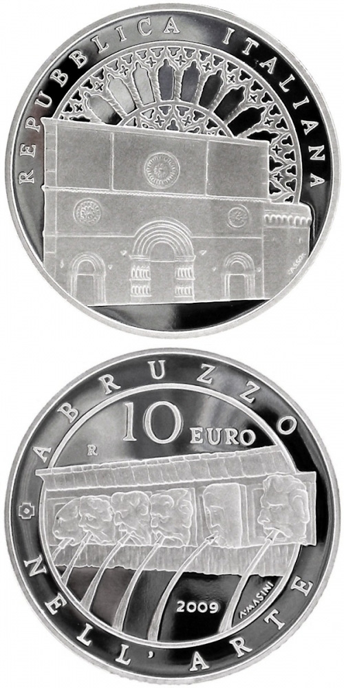 Image of 10 euro coin – Italy of Arts – L'Aquila | Italy 2009.  The Silver coin is of Proof quality.