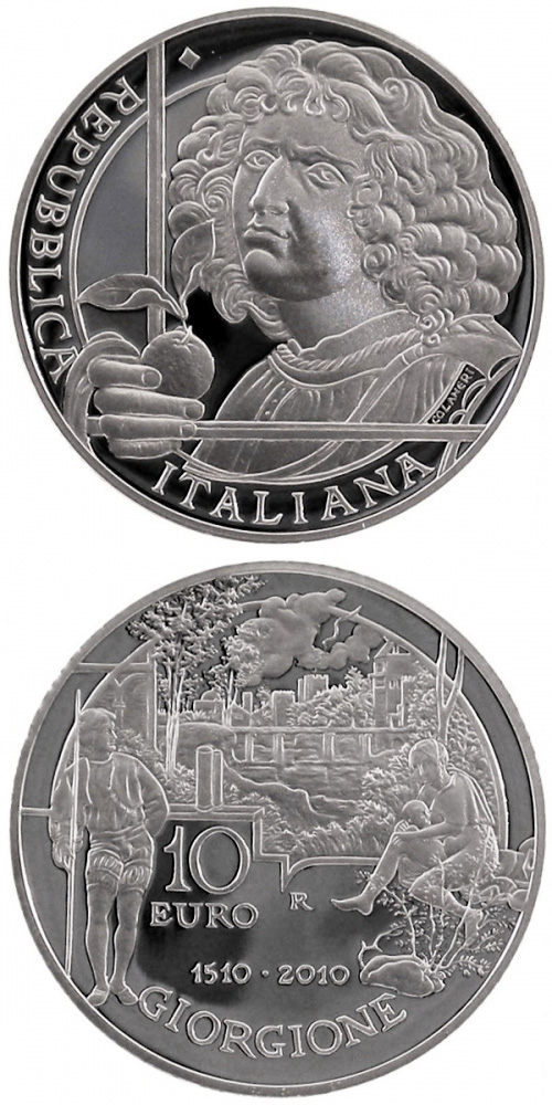 Image of 10 euro coin – 500th anniversary of the death of painter Giorgione  | Italy 2010.  The Silver coin is of Proof quality.