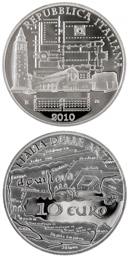 Image of 10 euro coin – Italy of Arts – Roman city of Aquileia.  | Italy 2010.  The Silver coin is of Proof quality.
