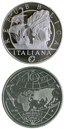 Image of 10 euro coin - Amerigo Vespucci  | Italy 2011.  The Silver coin is of Proof quality.
