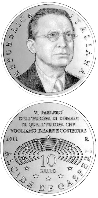 Image of 10 euro coin – Alcide De Gasperi  | Italy 2011.  The Silver coin is of Proof quality.