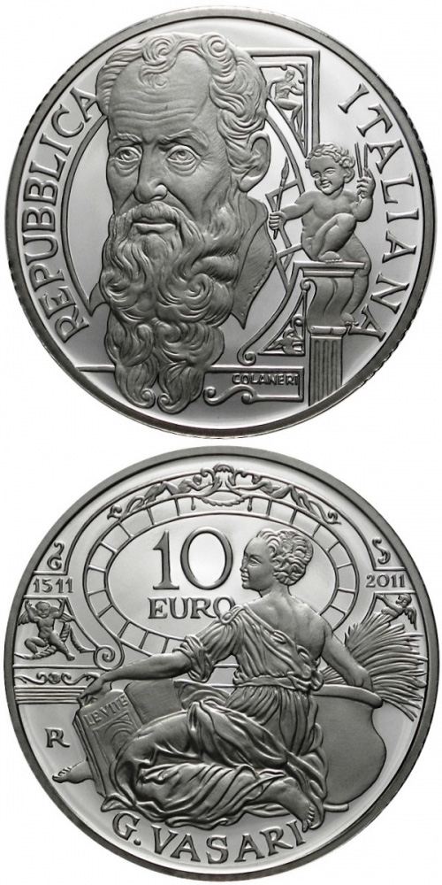 Image of 10 euro coin - 500th anniversary of the birth of Giorgio Vasari | Italy 2011.  The Silver coin is of Proof quality.