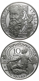 10 euro coin 500th anniversary of the birth of Giorgio Vasari | Italy 2011