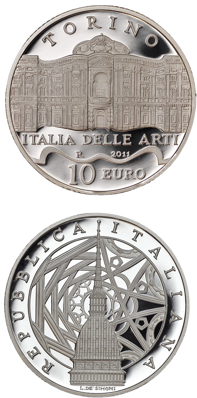 Image of Italy of Arts – Torino – 10 euro coin Italy 2011.  The Silver coin is of Proof quality.