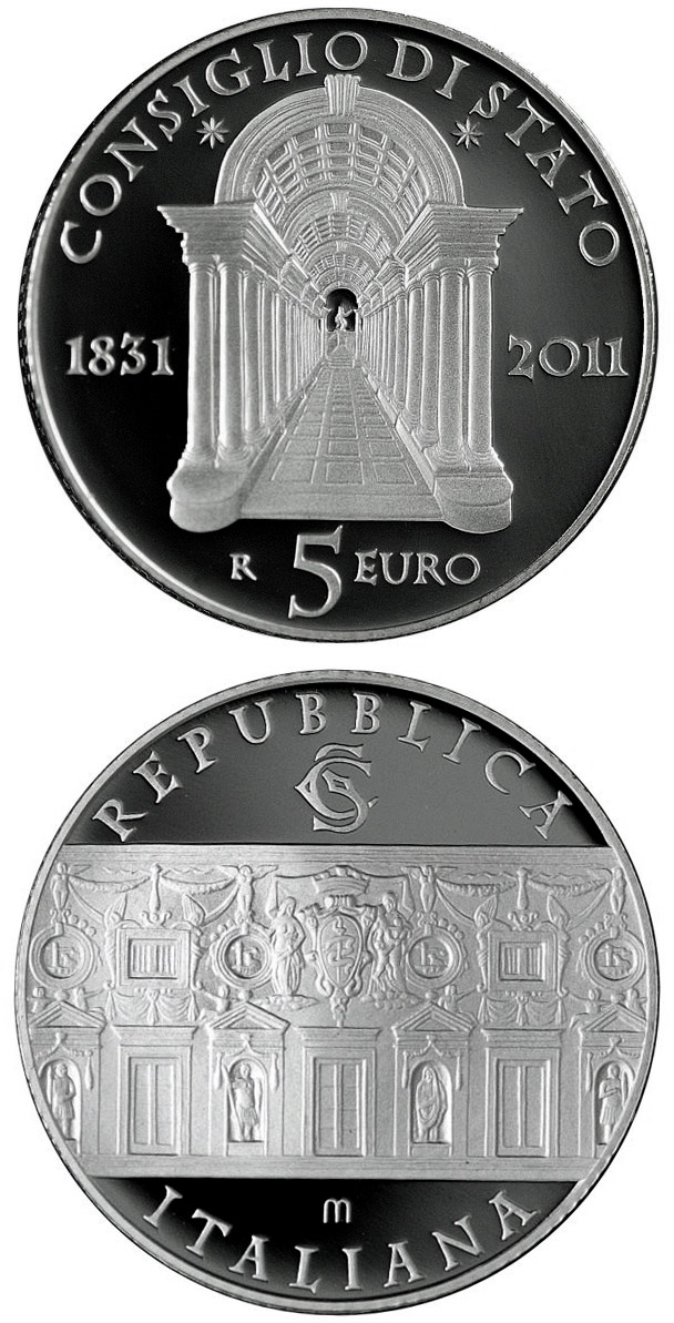 Image of 5 euro coin – 180th Anniversary of the Italian Council of State  | Italy 2011