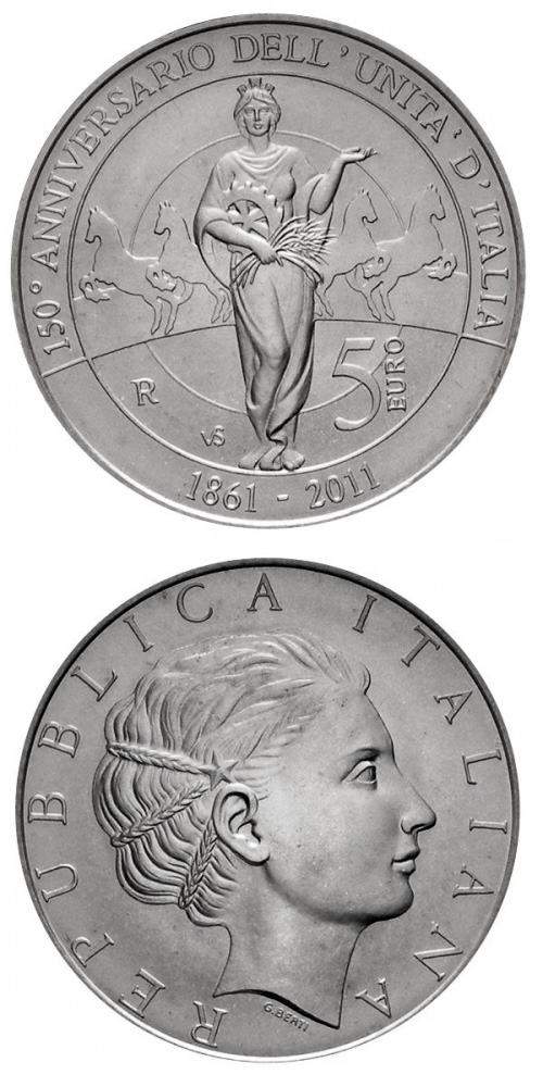 5 euro 150th anniversary of Italian unification  - 2011 - Series: Silver 5 euro coins - Italy