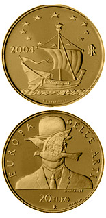 20 euro Europe of the Arts - René Magritte - Belgium - 2004 - Series: Gold 20 euro coins - Italy