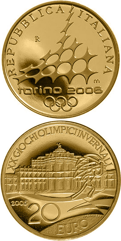 Image of a coin 20 euro | Italy | XX. Olympic Winter Games 2006 in Turin - Hunting lodge Stupinigi | 2005