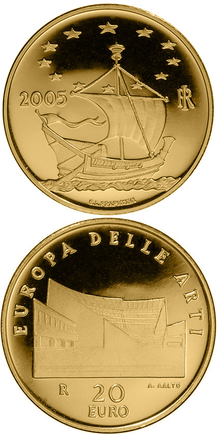 Image of 20 euro coin - Europe of the Arts - Alvar Aalto - Finland | Italy 2005.  The Gold coin is of Proof quality.