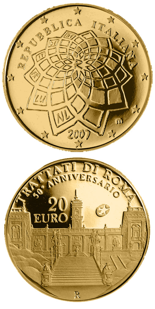 Image of 20 euro coin - 50 Years Treaty of Rome | Italy 2007.  The Gold coin is of Proof quality.