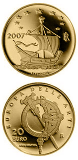 Image of 20 euro coin - Europe of the Arts - Celtic art - Ireland | Italy 2007.  The Gold coin is of Proof quality.