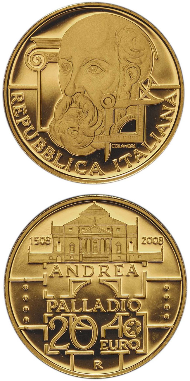 Image of a coin 20 euro | Italy | 500. birthday of Andrea Palladio | 2008