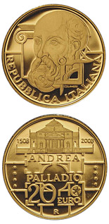 20 euro 500. birthday of Andrea Palladio - 2008 - Series: Gold 20 euro coins - Italy