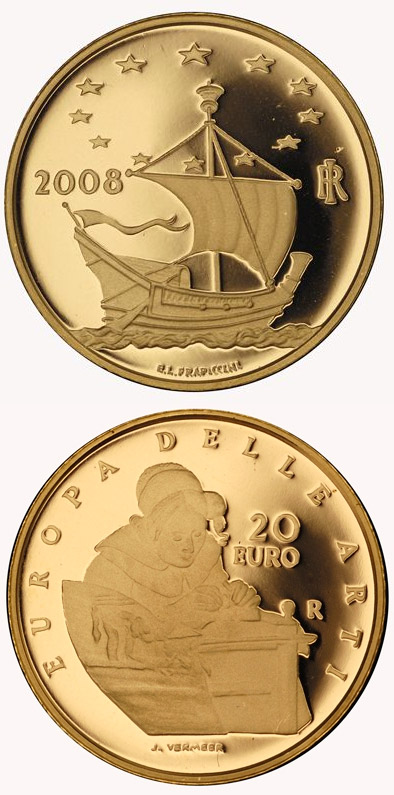 Image of 20 euro coin - Europe of the Arts - Jan Vermeers - the Netherlands | Italy 2008.  The Gold coin is of Proof quality.